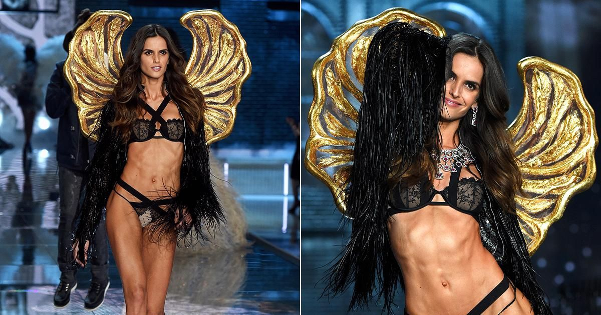 Brazilian beauty Izabel Goulart took flight down the runway donning a pair of gold wings and skimpy bandage underwear for the Victoria's Secret Fashion Show held in the Big Apple, before it is aired on Dec. 8, 2015.