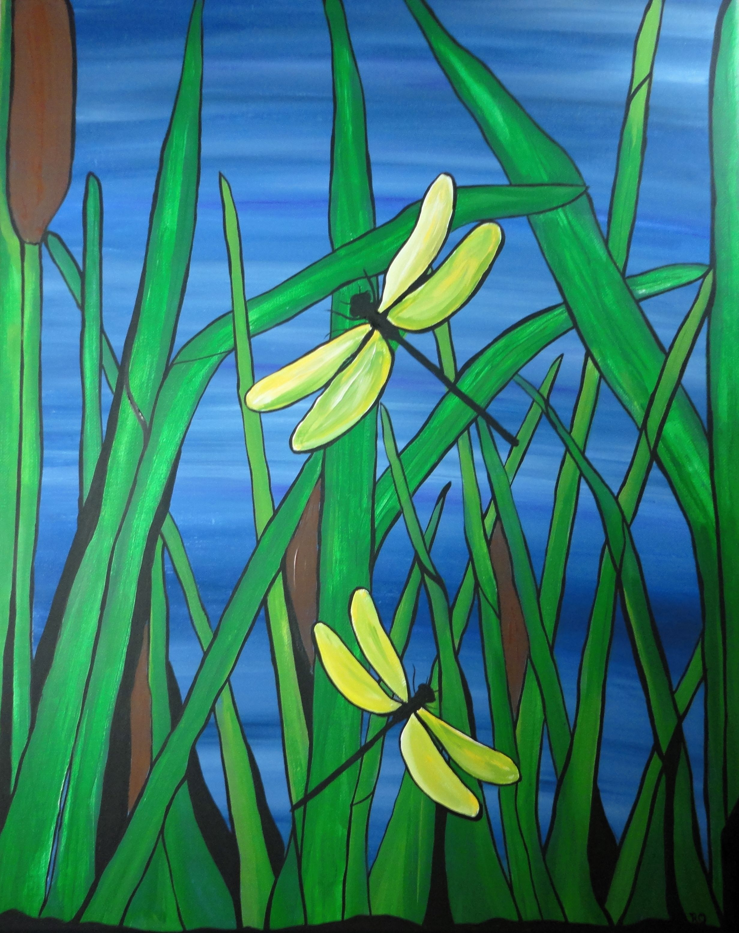 lovely colored dragonflies in this pond painting, created with ...