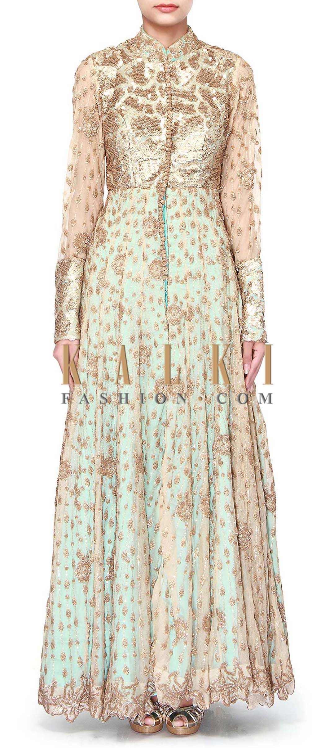 Buy Online from the link below. We ship worldwide (Free Shipping over US$100). Product SKU - 274011. Product Link - http://www.kalkifashion.com/beige-anarkali-suit-adorn-in-sequin-embroidery-only-on-kalki-18083.html