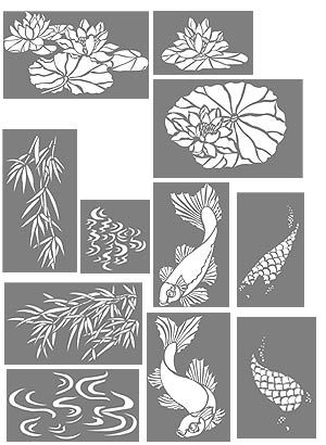 Here are the Koi Stencils For my new bathroom wall treatment. Wow! Going to look fabulous with the koi sink.
