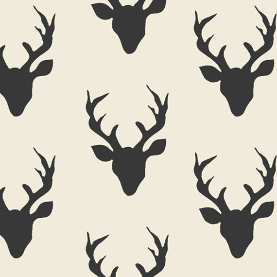 Deer Canvas Buck Forest Night Black White Antlers 100 Cotton 58 Wide