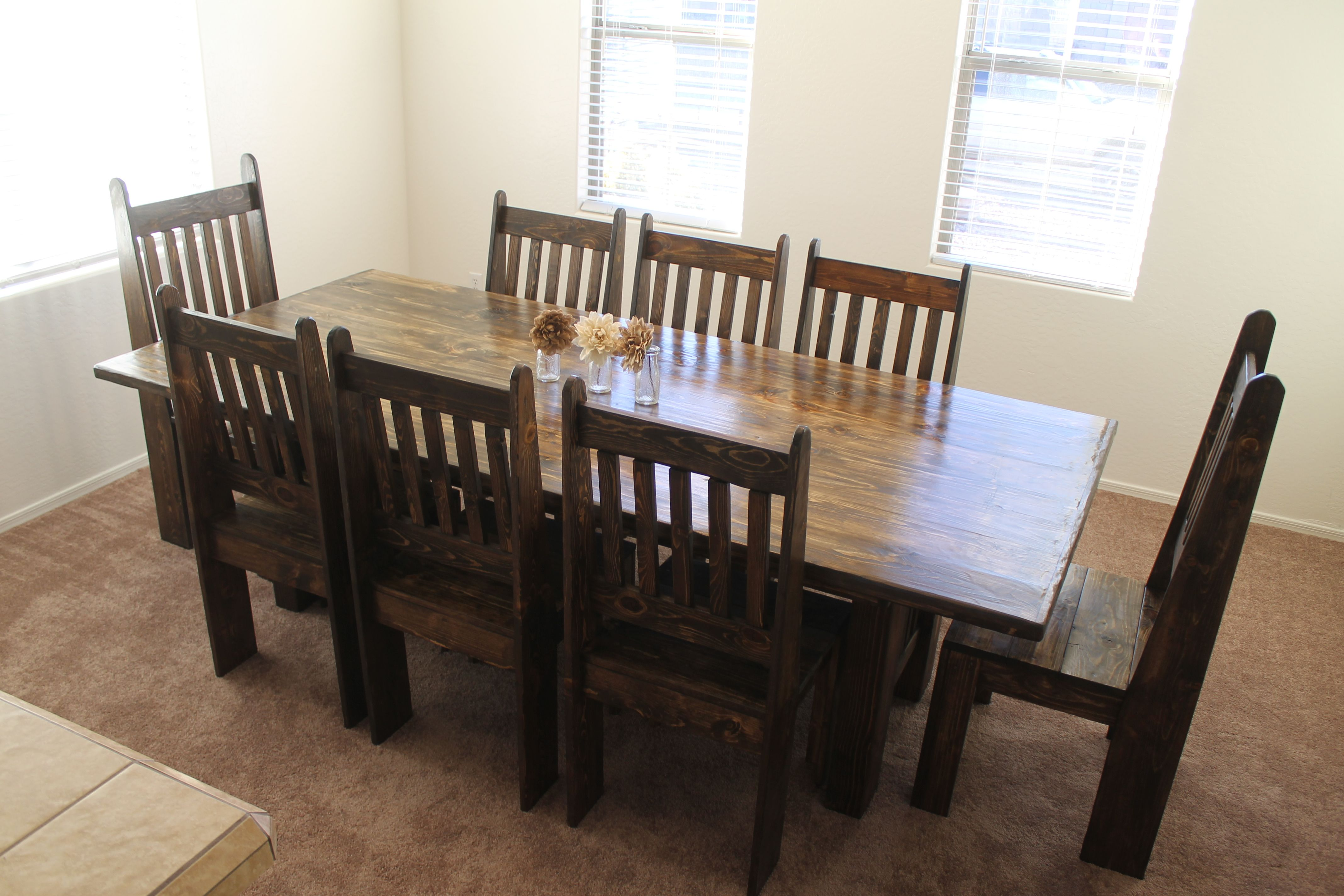 8 Foot Mission Style Table With Matching Chairs And Stained In Dark Walnut The Trunk Trader Farmhouse Style Furniture Table Makeover Matching Chairs