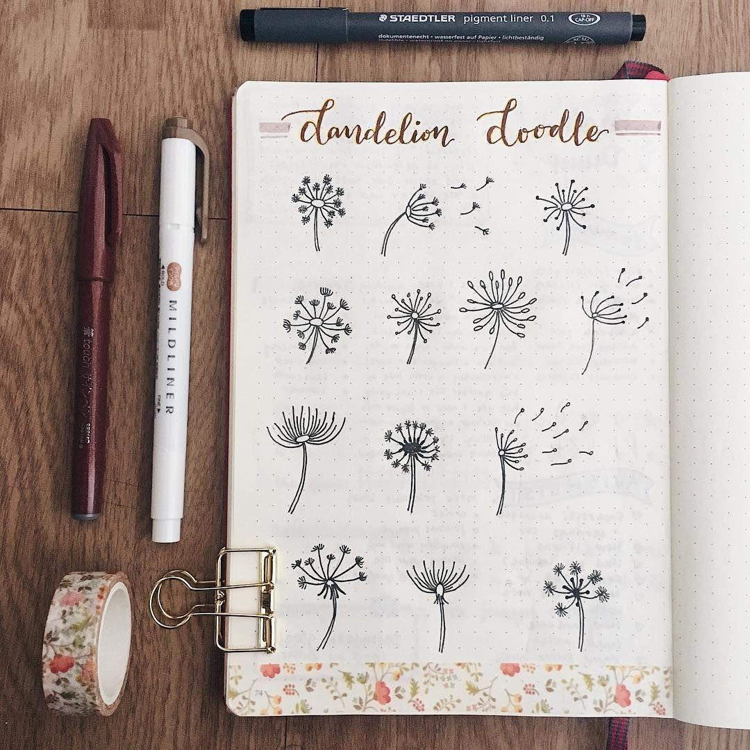 Bullet Journal Dandelion Drawing Ideas