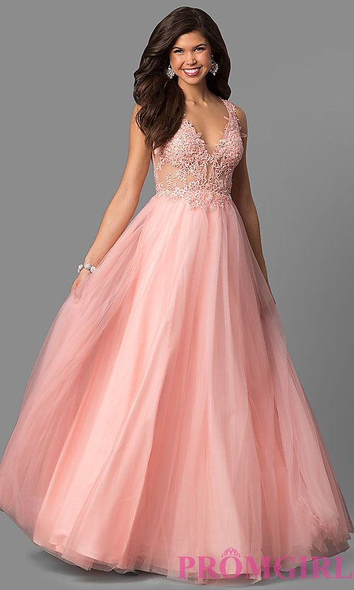 adb473af0f3 Tulle A-Line Prom Dress with Sheer Lace Bodice
