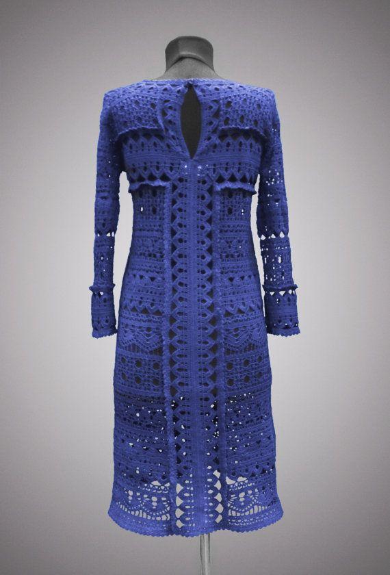 Crochet dress Theodora. Navy blue casual or by TsarevaCrochet
