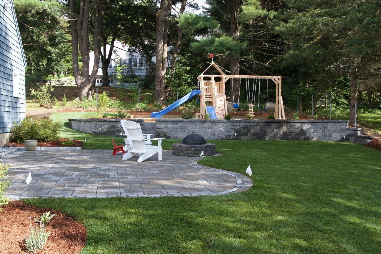Westford Ma Backyard Patio Fire Pit Wall Granite Steps Play Area Sod Products Patio Te Commercial Landscaping Landscape Construction Backyard Patio