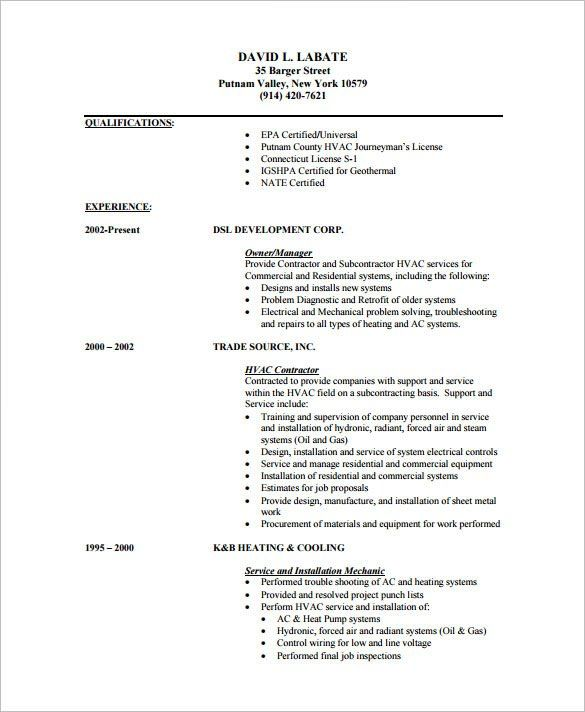 Hvac Resume Templates Pinterest Template and Resume examples