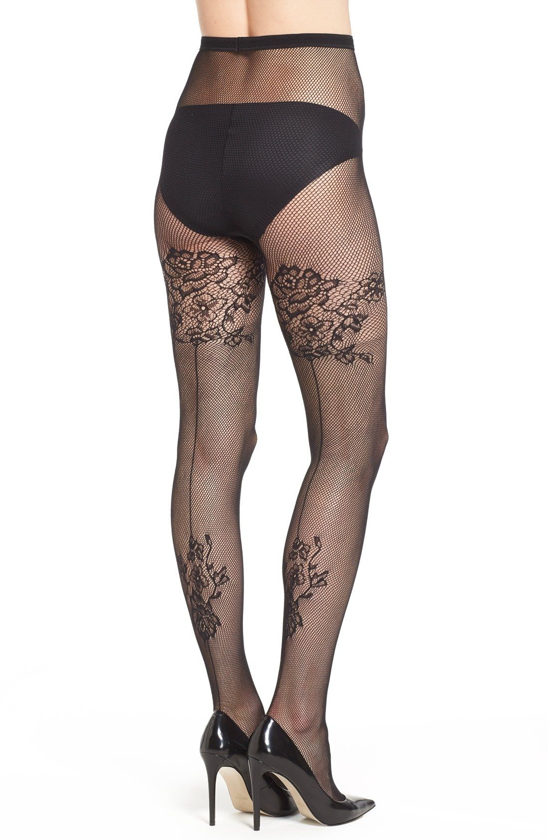 15cbbb232 Pretty Polly Floral Pattern Back Seam Fishnet Pantyhose available at   Nordstrom