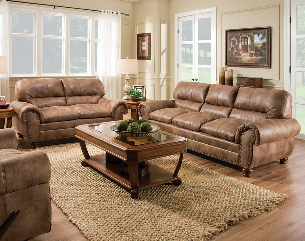 Rochester Hazelnut Sofa Loveseat Discount Furniture Stores Leather Living Room Set Living Room Collections
