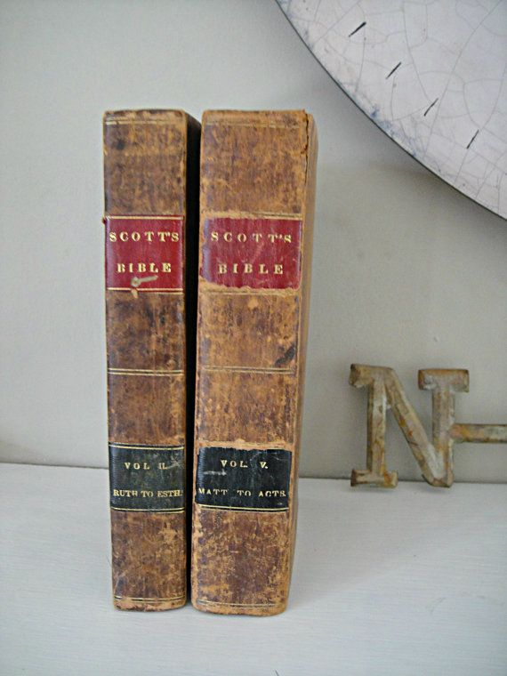 1823 Leatherbound Bible  2 Volumes of Scott's by RustyNailDesign, $28.95