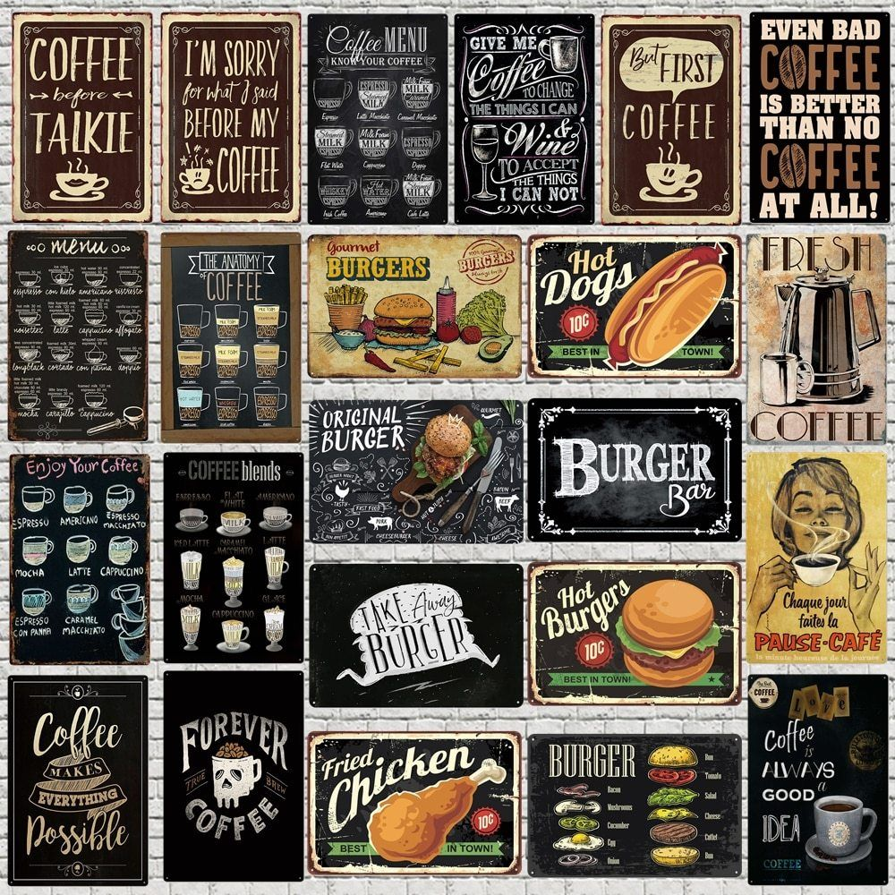 Chalkboard Art Coffee Menu Metal Sign Burger Bar Decorative Signs Wall Kitchen Cafe Shop Home Art Craft Decor 30x20cm Xp 947 A Coffee Wall Art Cafe Wall Art Coffee Shop Signs