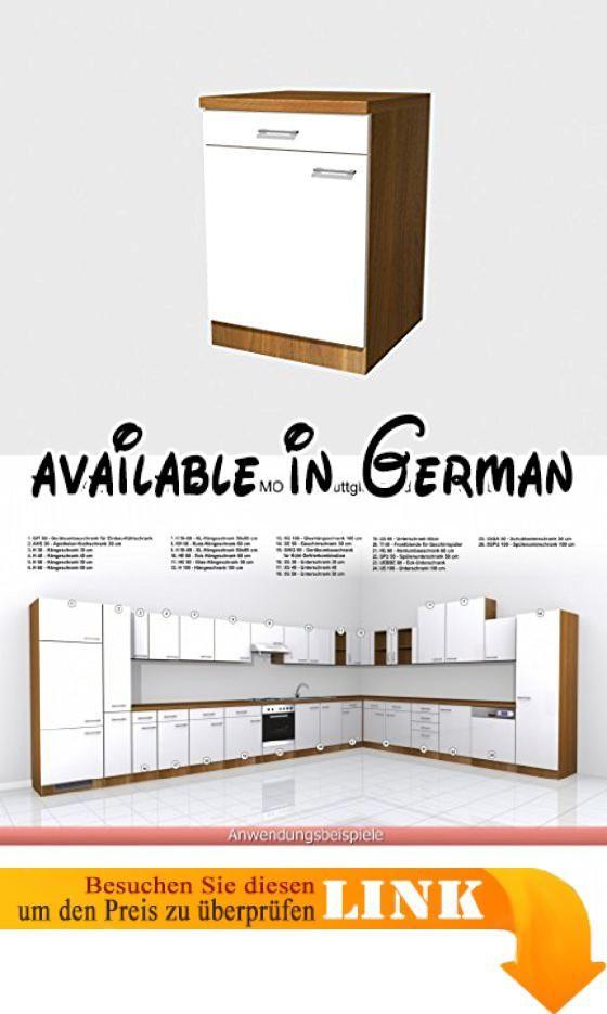 B004G9A6V4 : Küchen Unterschrank 60 cm Weiss Nussbaum - Como. Küchen ...