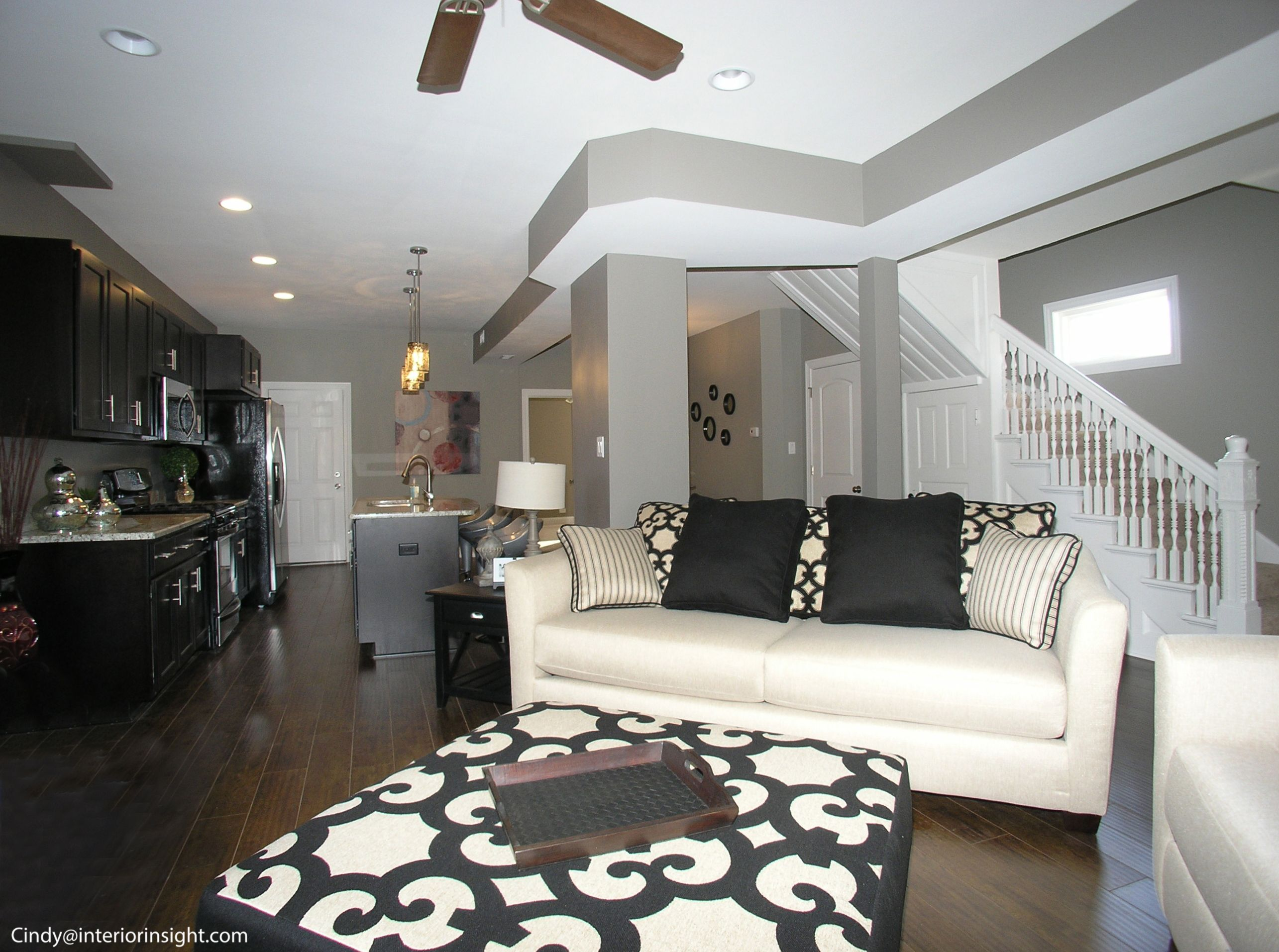 Staged Open Floor Plan In This New Renovated Chicago Bungalow Listed By George Slowinski Illinois Love The Over Sized Black And White Ottoman