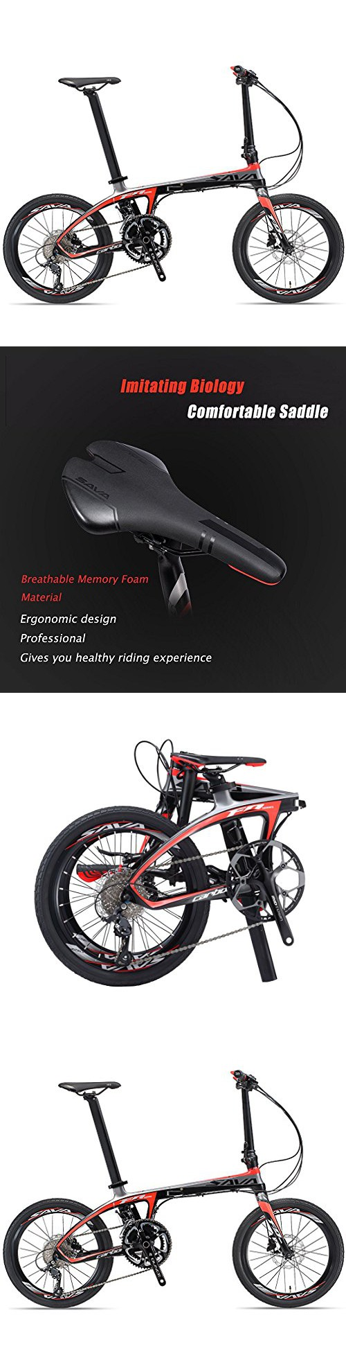 Savadeck Cricket 20 Inch Folding Bike T800 Carbon Fiber Frame Mini Compact City Bicycle With Shimano 3000 9 Speed Disc Brake Black Red Bike Carbon Fiber Bicycle