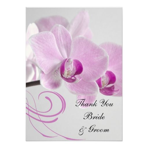 Pink Orchid Elegance Wedding Flat Thank You Notes Announcements
