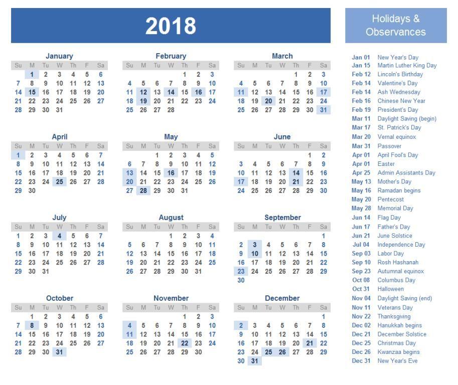 Calendar 2018 Printable With Holidays Printable Calendar