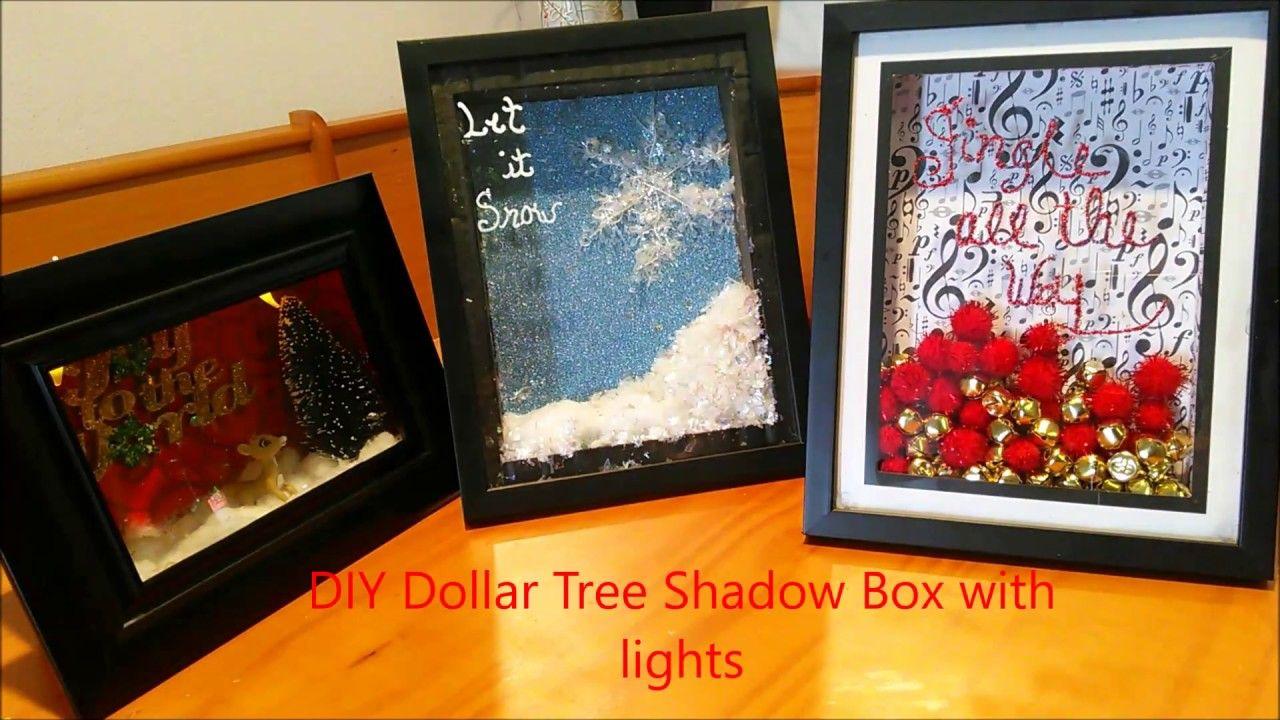 Diy dollar tree shadow box with lights christmas shadow