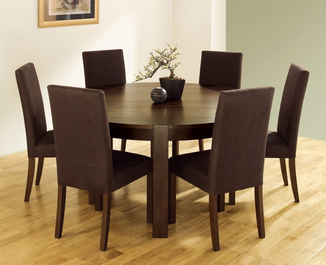 White Grey Dining Room With Solid Wood Round Table Plus Six Chair