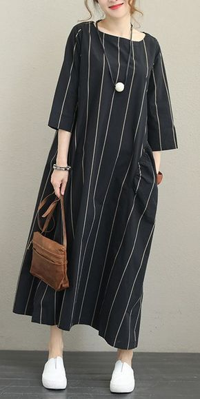 FALL STRIPED LOOSE MAXI DRESS FOR WOMEN Q1337 #falloutfits2019