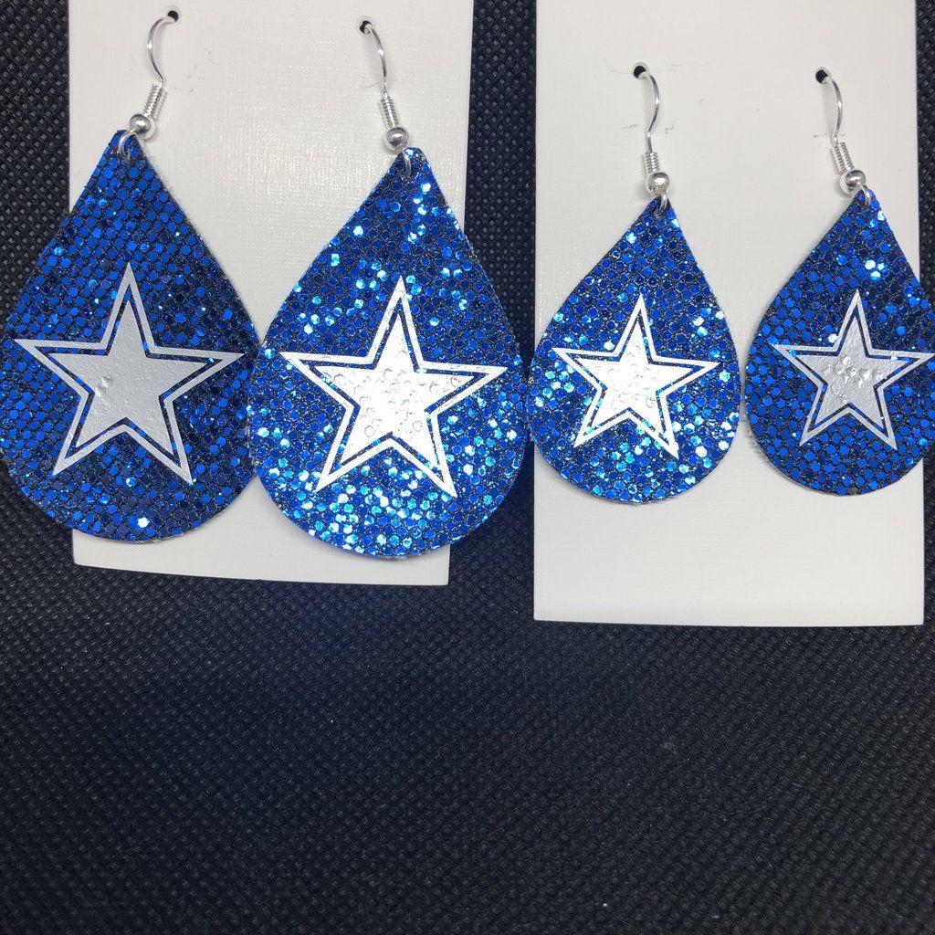 d72b4d531c5230 Dallas Cowboys Blue Sparkle Women s Kids Earrings