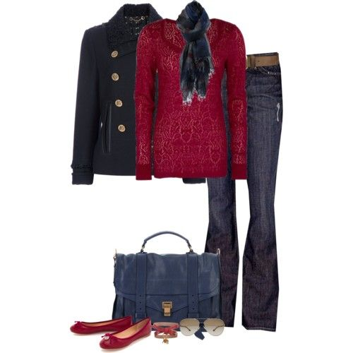 Cranberry sweater and flats