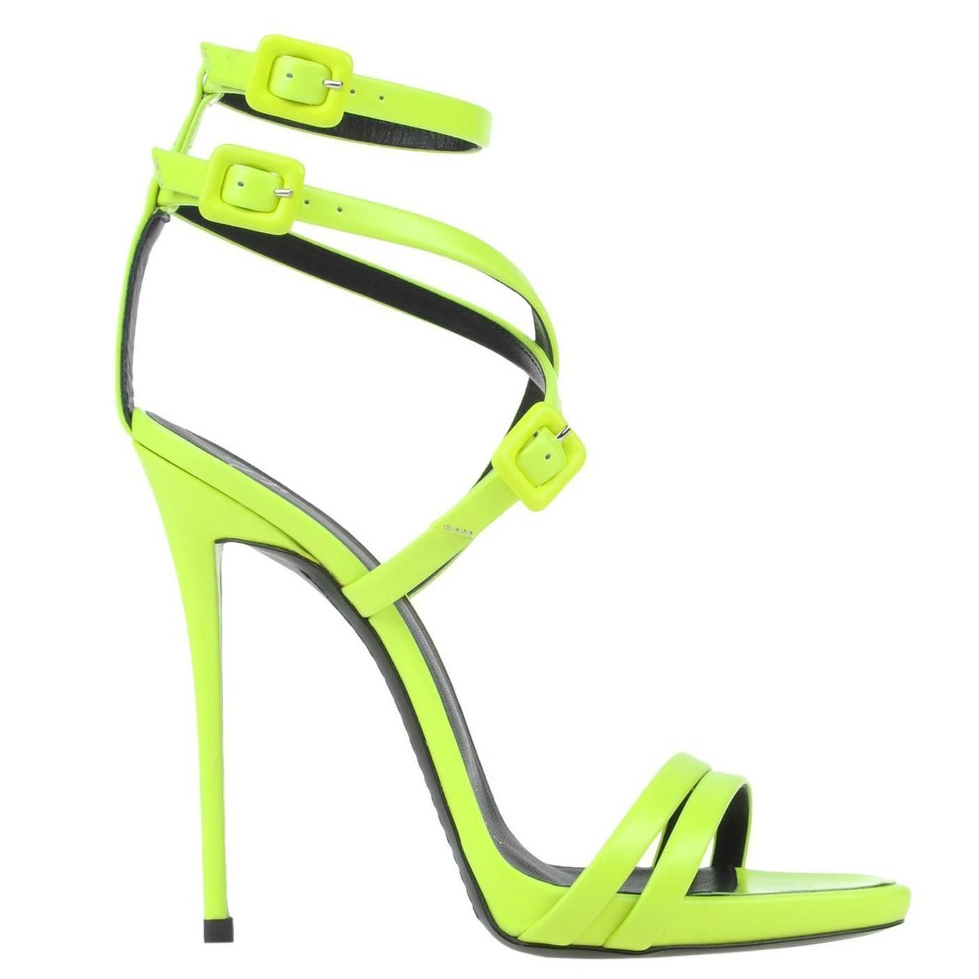 6ad67acbe98 Giuseppe Zanotti NEW SOLD OUT Neon Lime Green High Heels Strappy Sandals