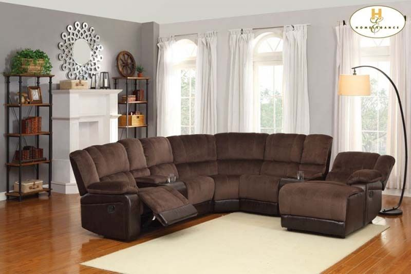 Brown Microfiber Leather Reclining Sectional Sofa Chaise Cup Holder