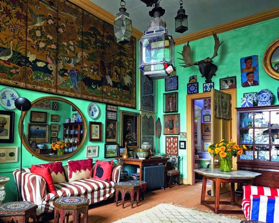 Hanging Moroccan Lamps Deer Heads And Walls Covered In Pictures So Much Going On A Mist Acid Green Image From Interior Design Book English