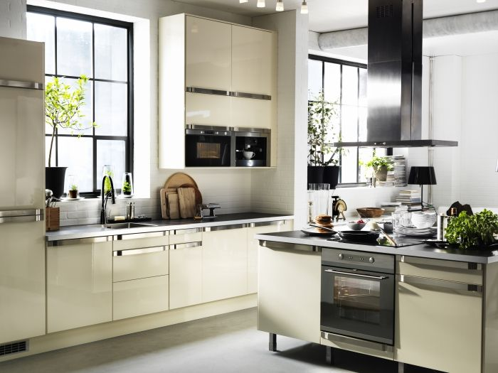 Faktum kitchen with abstrakt high gloss yellow white doors for Ikea complete kitchen
