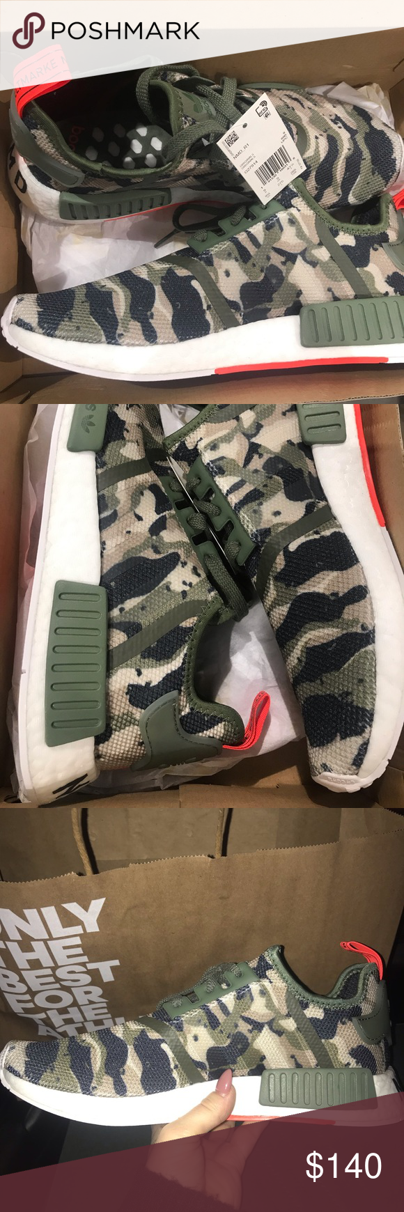 b7ce285287944 NWT Men s Camo NMD R1 Men s NMD camo R1 with orange detail on the back and  bottom. NWT and comes with box. This colorway is hard to come by!