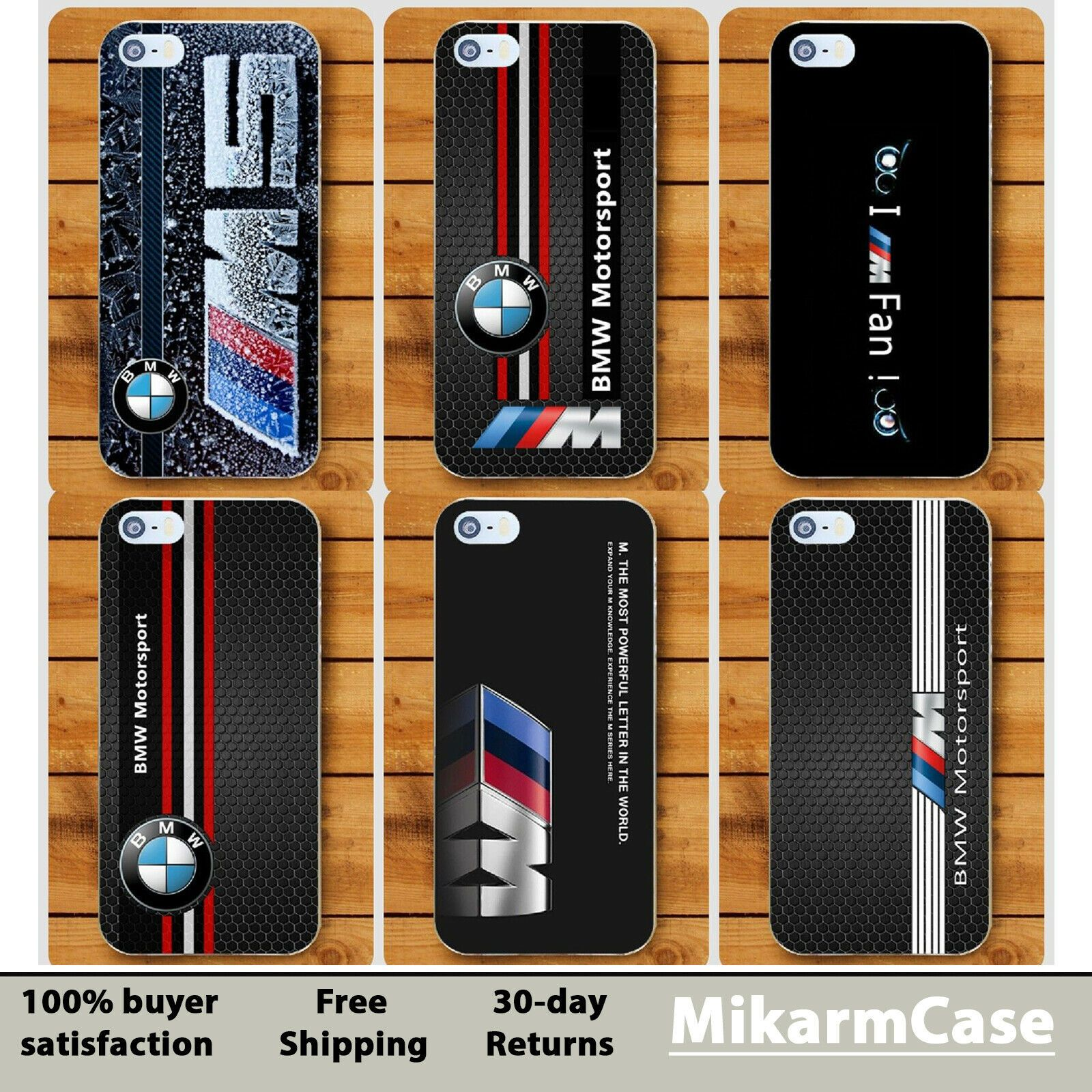BMW M Motorsport Hard cover case For Apple iPhone 5 6 7 S plus 8 X ...