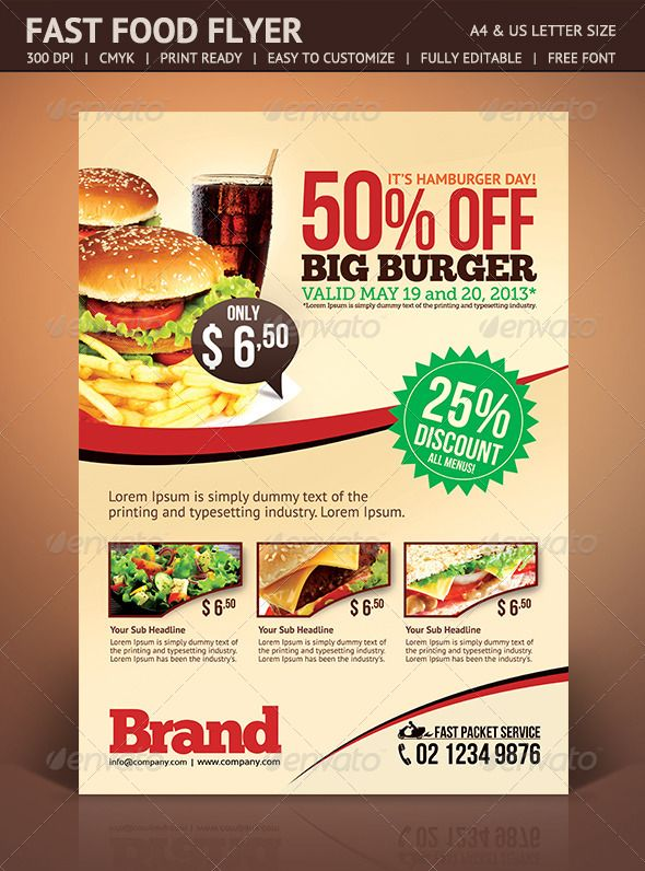 graphicriver fast food flyer 4676474 created 21 dtp ideas