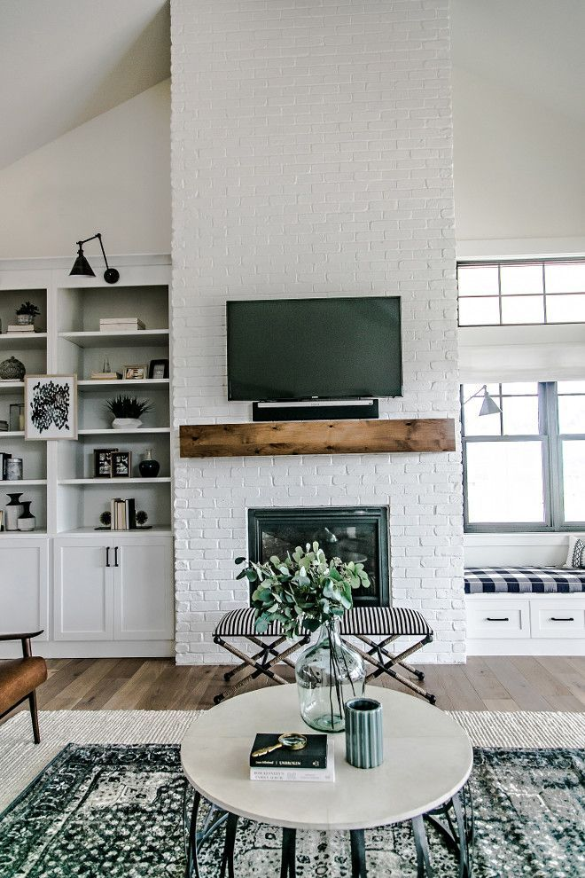Farmhouse Brick Fireplace The Painted Brick Fireplace Is The