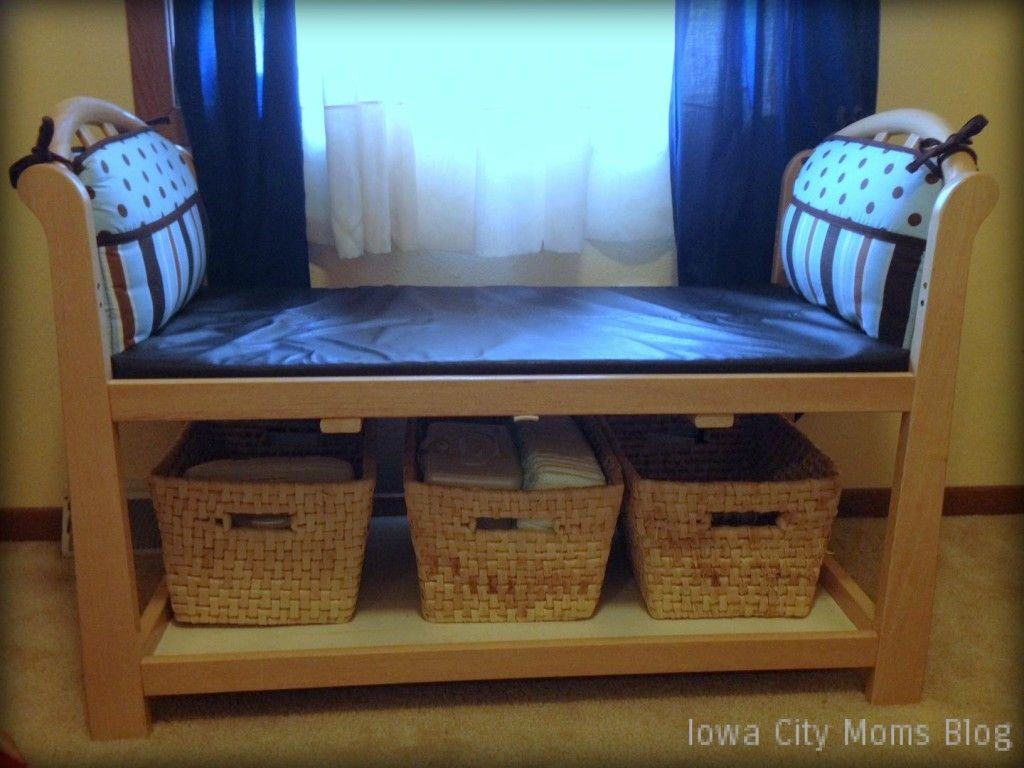 Changing Table + Crib Bumpers = Bench! | Great ideas | Pinterest ...