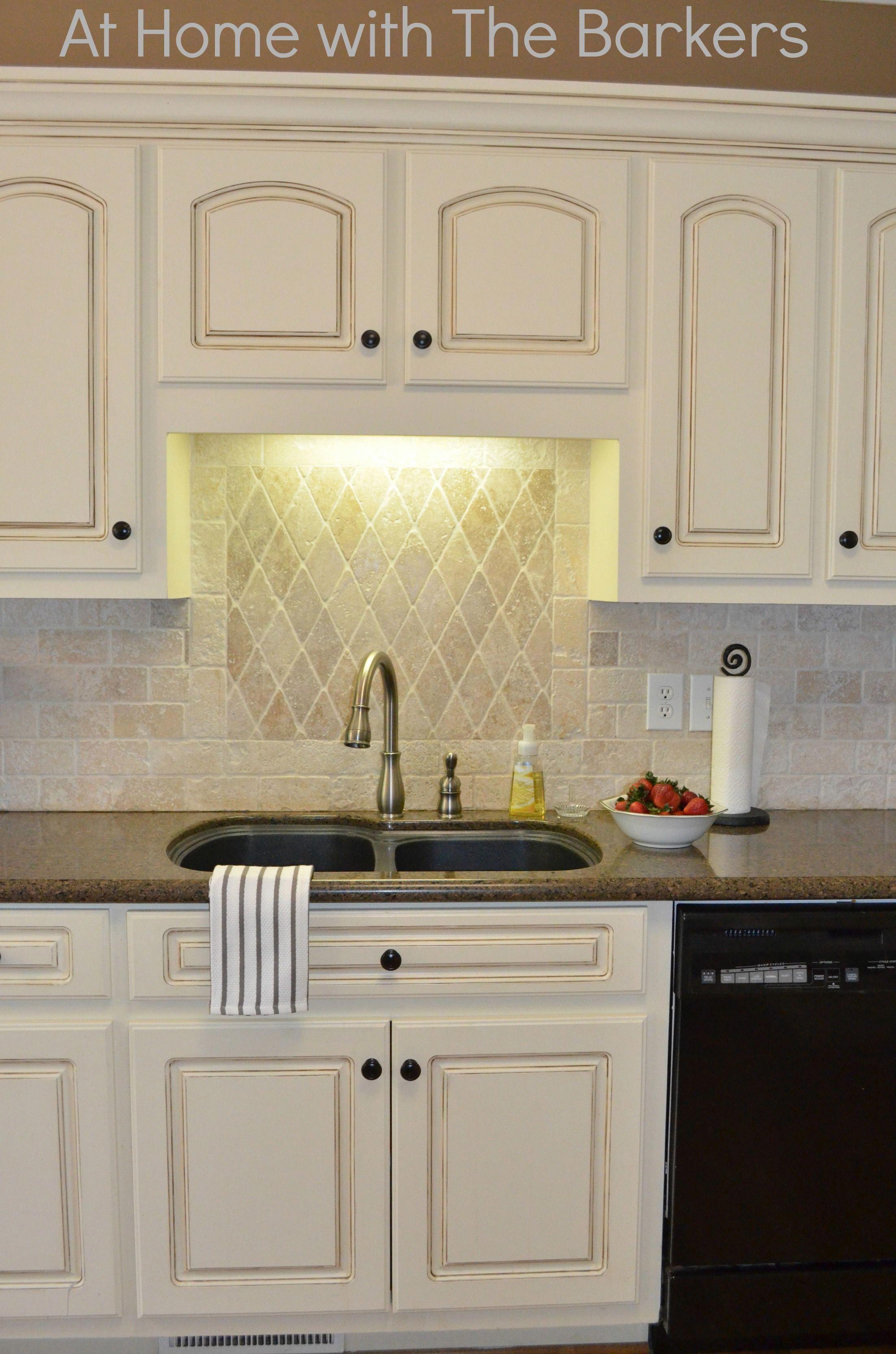 Painted Kitchen Cabinets Tutorial | Antique white kitchen ...