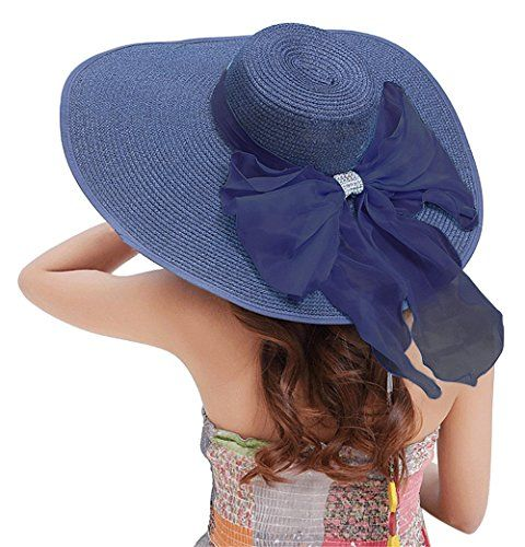 d3bc5e729dc Kaisifei Bowknot Casual Straw Women Summer Hats Big Wide ... https