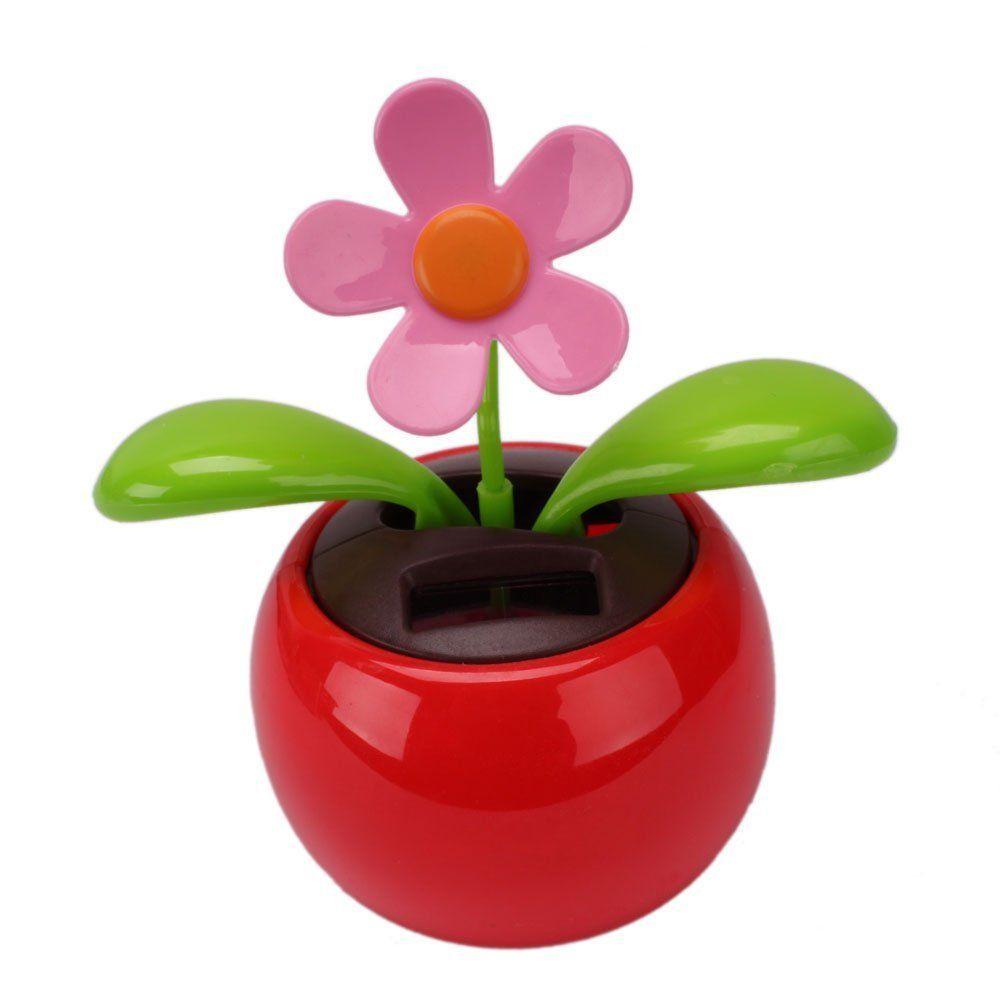 Red Cute Flip Flap Swing Solar Powered Flower For Car  #geek #toys #solar