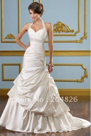 Halter Sweetheart Beaded Ruched Corset Bodice Elegant Mermaid Grecian Wedding Dress