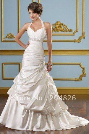 Halter Sweetheart Beaded Ruched Corset Bodice Elegant Mermaid Grecian Wedding Dress