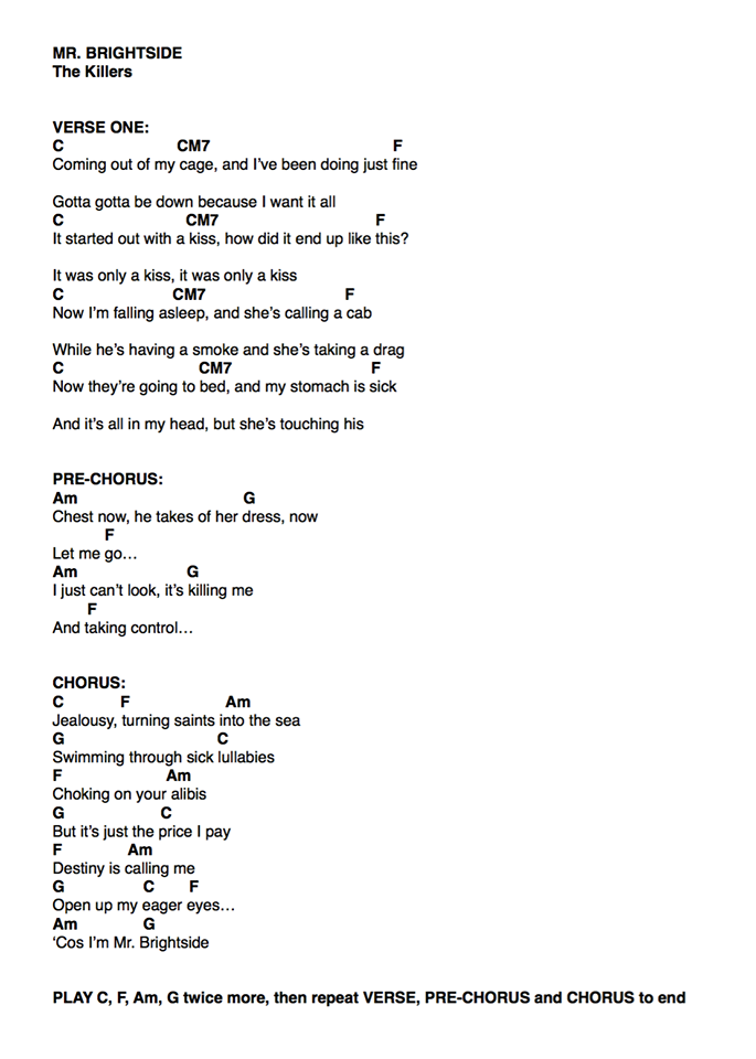 The killers-mr brightside ukulele | uke chords | Pinterest | Mr ...