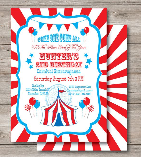 23+ Carnival Birthday Invitations u2013 Free PSD, Vector EPS, AI - invitation download template