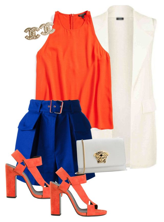 """""""Blue"""" by kathleenmountain on Polyvore featuring Topshop, Alexander McQueen, Pierre Hardy, Chanel and Versace"""