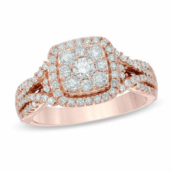 1 Ct T W Composite Diamond Frame Engagement Ring In 14k Rose Gold Zales Rose Engagement Ring Blue Diamond Engagement Ring Yellow Gold Engagement Rings