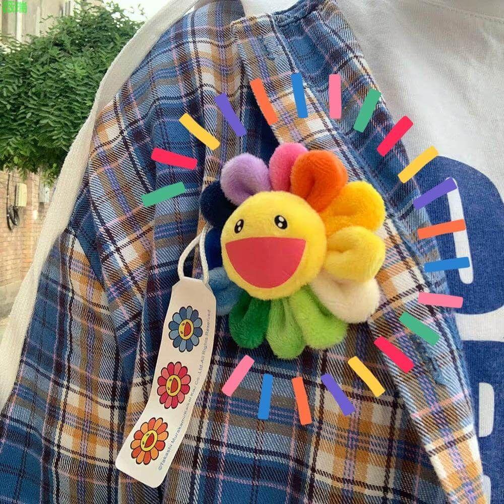 Rainbow Sunflower Plush Pin - Default Title