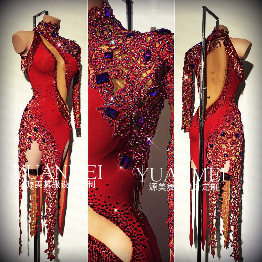 Tassel Latin Dance Dress Clothing Salsa Costume Ballroom Competition Skirt