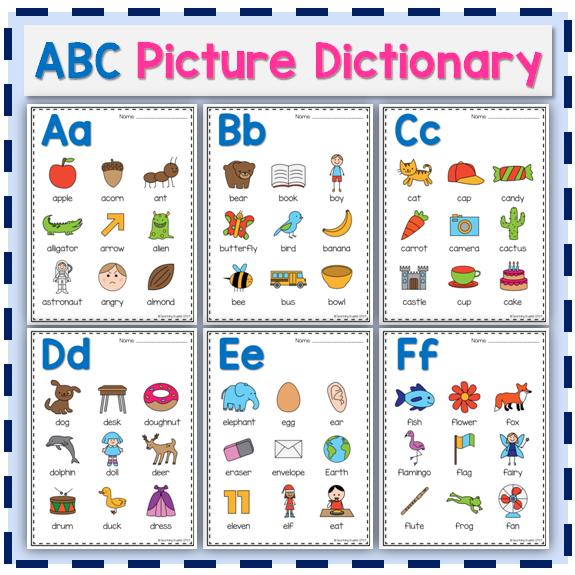 Alphabet Picture Dictionary Alphabet pictures, Picture
