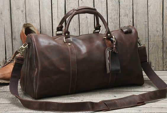 5bc34acfab Handmade leather men Travel Duffle Bag Laptop Weekender Bag Overnight
