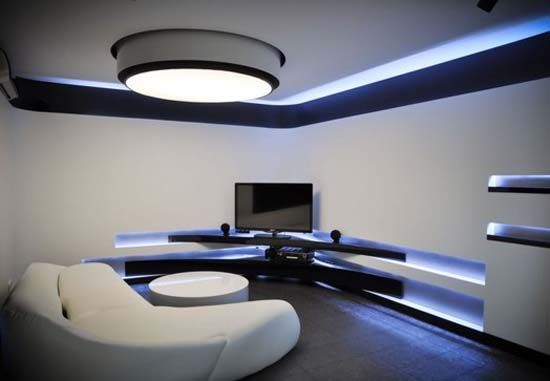 Black And White Futuristic Interior Design Of Apartment (2) Idea