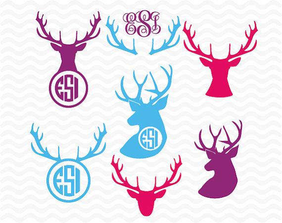 Deer Head Monogram Svg Svg Dxf Eps Hunting Svg Hunter