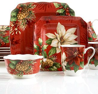 222 fifth dinnerware sets | 222 Fifth Poinsettia Holly 16-Piece Set & 222 fifth dinnerware sets | 222 Fifth Poinsettia Holly 16-Piece Set ...